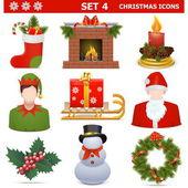 Vector Christmas Icons Set 4 — 图库矢量图片
