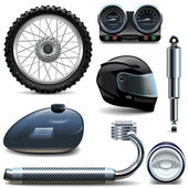 Vector Motorcycle Spares Icons — Stock Vector