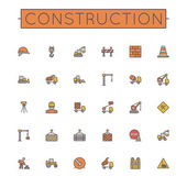 Vector Colored Construction Line Icons — Stockvektor