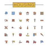Vector Colored Housing Line Icons — Stock Vector