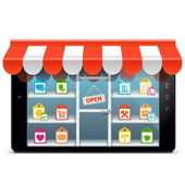 Vector Tablet PC with Supermarket Concept — Stock vektor
