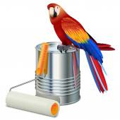 Vector Paint Can with Roller Brush and Parrot — Stock Vector