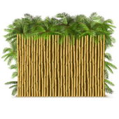 Vector Bamboo Fence with Palm — Stock Vector