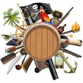 Vector Pirate Concept with Barrel — Stock Vector