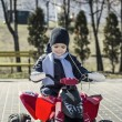 Boy riding in a car park — Stock Photo #67417223