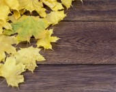 Yellow leaves of a wooden surface — Stock Photo