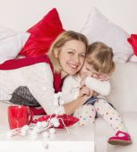 Mom and daughter are happy and laugh — Stock Photo