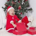 Little girl in santa hat — Stock Photo #58510505