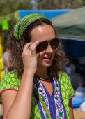 Girl on ethnic festival. Bright colorful and beautiful. — Foto Stock