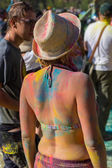 Girl on ethnic festival. Bright colorful and beautiful. — Stock Photo