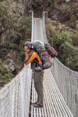 Suspension bridge on Annapurna Circuit  — Stock Photo