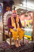 Hindu priest performs the Ganga Aarti ritual — Stock Photo