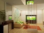 Wohnzimmer mit Landschaftsblick auf, 3d Innenarchitektur — Stockfoto