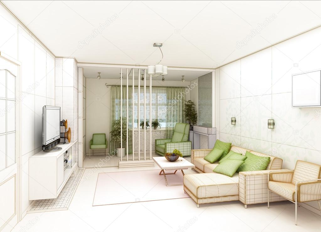 Living comedor con vista al paisaje, arquitectura de interiores 3d ...
