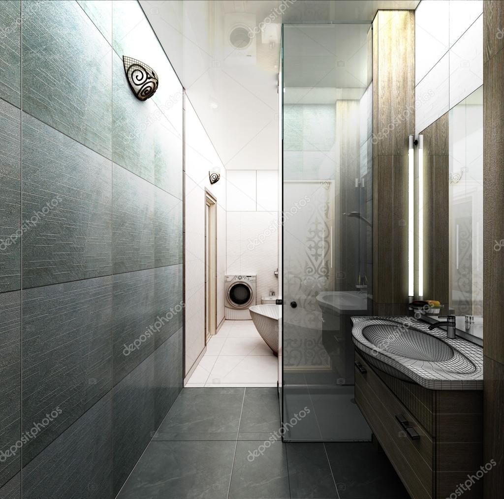 Rendering 3d en modernt badrum inredning — stockfotografi ...