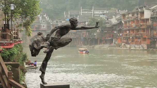 Waterfront iew of the Fenghuang city — Stock Video #58038967