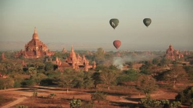 Balloons Buddhist Temples Bagan — Stock Video