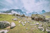 Snow mountain with green field — Stock Photo