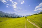 Yeşil tepeler ve mavi gökyüzü — Stok fotoğraf
