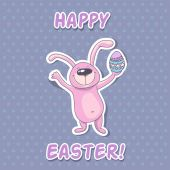Easter card with rabbit — Stock Vector