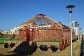 The wooden frame of the Kazakh yurt — Stock Photo