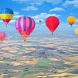 Flight of hot air balloons above the countryside. — Stock Photo #52703849