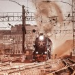 Departure of the retro steam train. — Stock Photo #53296559