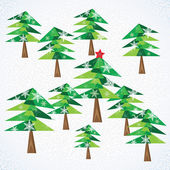 Green Christmas fir trees background. — Stock Vector
