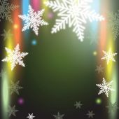 Christmas snowflakes on colorful background. — Stock Vector