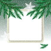Frame on the snowdrift and fir tree branches. — Stock Vector