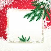 Frame on the snowdrift and fir tree branches. — Vecteur