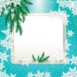 Frame, fir tree branches and snowflakes on colorful background. — Stock Vector #59047319