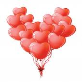 Heart shaped red balloons. — Stock Vector
