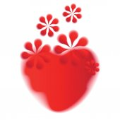 Heart and flower red shapes on white background. — Stock Vector