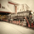 Morning departure of the retro steam train. — Stock Photo #62072311
