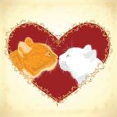 Two beloved cats on the heart shape background. — Stock Vector