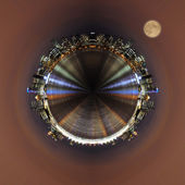 Little planet - urban spherical panorama of Vancouver city. — Stock Photo