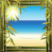 View of the seashore from the resort bungalow window. — Stock Vector