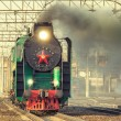 Departure of the retro steam train. — Stock Photo #69358129