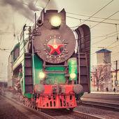 Retro steam train. — Stock Photo