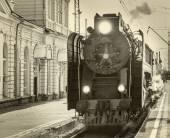 Trem a vapor retrô. — Fotografia Stock