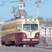 Vintage tram on the central city street. — Stock Photo