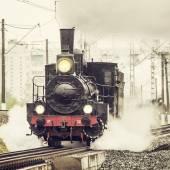 Old retro russian steam locomotive. — Stock Photo