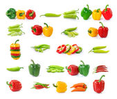 Set of chilli  pepper isolated on white background — Stock Photo