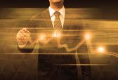 Affärsman hand ritning business diagram — Stockfoto