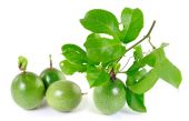 Passionfruit on white background with leaves. — Stock Photo