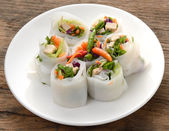 Noodle thai apply style vegetables roll — Stock Photo