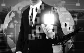 Businessman works with Social Network Display — Stock Photo