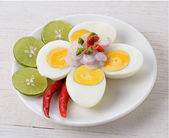 Boiled egg spicy salad, thai food — Stock fotografie