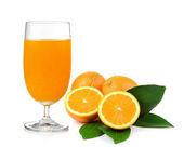 Orange juice and orange isolated on white background — Stock Photo